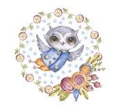 在圈子花花圈的逗人喜爱的水彩猫头鹰 库存例证