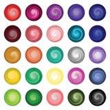 在圈子调色板的25个混杂的油漆颜色样片 库存照片