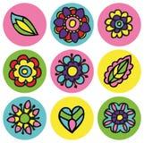 在圈子集合的五颜六色的花象 免版税库存图片