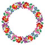 在圈子-匈牙利花卉民间样式的Kalocsai刺绣 库存例证