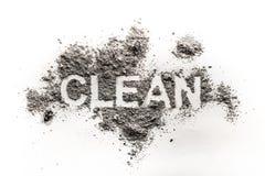 在土写的文本词干净,秽,作为卫生学, tra的尘土 库存图片