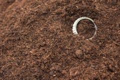 在土壤地面droped的金黄圆环 库存图片