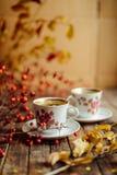 在土气别致的样式的茶 饮料当事人松弛茶妇女 在的杯子的绿茶 免版税库存照片