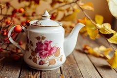 在土气别致的样式的茶 饮料当事人松弛茶妇女 在的杯子的绿茶 图库摄影