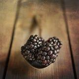 在土气厨房设置的黑莓与木背景wi 库存照片