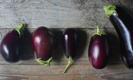 在土气木背景的新鲜的有机茄子 库存照片