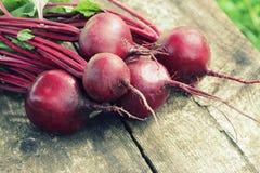 在土气木背景的新鲜的甜菜根 收获菜烹调构想 饮食或素食主义者食物概念 库存照片