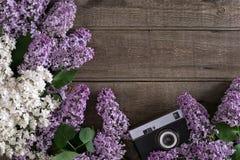 在土气木背景的淡紫色开花与招呼的消息的空的空间 老照相机 顶视图 库存图片