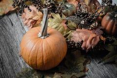 在土气木头的南瓜和秋天叶子 免版税库存照片