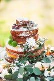 在土气样式的开胃婚宴喜饼 免版税库存照片