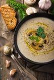 在土气背景的蘑菇奶油色汤 免版税库存图片