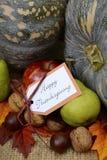 在土气设置的愉快的感恩南瓜 免版税图库摄影