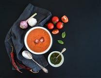 在土气金属碗的Gazpacho汤有新鲜的 免版税库存图片