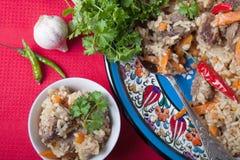 在土耳其板材的热的可口肉饭在红色镶边桌布 免版税图库摄影