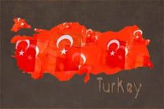 在土耳其的地图的土耳其国旗装填褐色的 向量例证