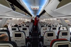 在土耳其航空航空器里面 免版税库存图片
