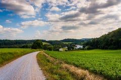 在土路的多云天空和农田在农村约克县 免版税图库摄影
