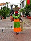 在圣佩德罗火山克拉弗广场结果实卖主妇女,历史的市卡塔赫钠,哥伦比亚 图库摄影
