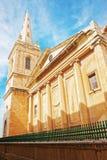 在圣保罗大教堂的街道在瓦莱塔老镇 库存图片