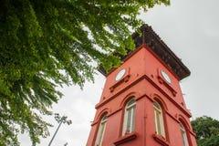 在圣保罗小山附近的钟塔在Melaka 库存照片