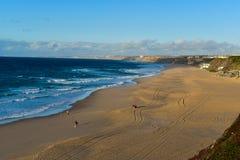 在圣克鲁斯-葡萄牙的海滩 免版税库存图片