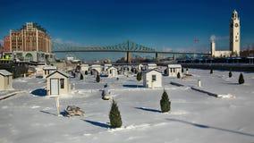 在圣劳伦斯河的冰渔 库存照片
