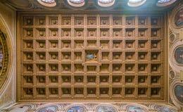 在圣劳伦斯湾大教堂的华丽天花板在Damaso在罗马,意大利 库存图片