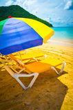 在圣卢西亚的美丽的海滩 免版税库存照片