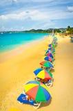 在圣卢西亚,加勒比岛的海滩 免版税库存图片