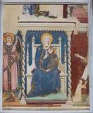 在圣吉米尼亚诺、意大利-玛丹娜和孩子的壁画 图库摄影