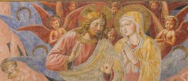 在圣吉米尼亚诺-耶稣和母亲玛丽的壁画 库存图片