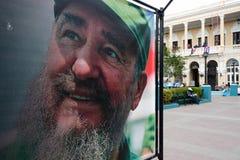 在圣地亚哥的菲德尔・卡斯特罗陈列在死亡以后 免版税库存图片
