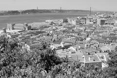 在圣地豪尔赫城堡的里斯本,葡萄牙地平线 免版税库存照片