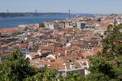 在圣地豪尔赫城堡的里斯本,葡萄牙地平线 免版税库存图片