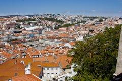在圣地豪尔赫城堡的里斯本,葡萄牙地平线 图库摄影