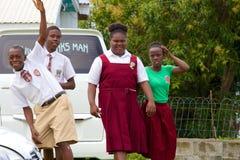 在圣基茨希尔的学校孩子,加勒比 免版税库存照片