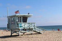 在圣塔蒙尼卡海滩的Baywatch 免版税图库摄影