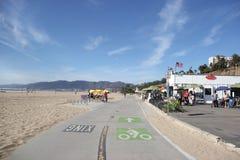 在圣塔蒙尼卡的自行车道 免版税库存照片