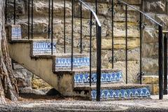 在圣安东尼奥Riverwalk的被风化的楼梯 库存照片