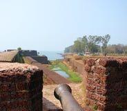在圣安吉洛` s堡垒, Kannur,喀拉拉,印度的老火炮 库存图片