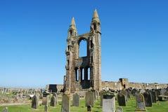 在圣安德鲁` s大教堂,苏格兰的东部塔 免版税库存图片