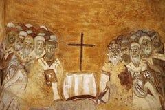 在圣尼古拉斯教会,代姆雷墙壁上的老壁画  库存照片