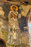 在圣尼古拉斯教会,代姆雷墙壁上的老壁画 库存图片