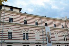 在圣徒位于的老经典建筑学大厦façade 免版税库存照片