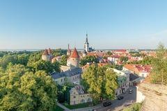 在圣徒奥拉夫教会的看法从位于奥尔德敦,塔林,爱沙尼亚的座堂山区的观点 免版税图库摄影