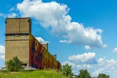 在圣徒Lious,与街道画的MO的被放弃的大厦 免版税库存照片