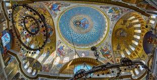 在圣徒Nichola海军大教堂的圆顶的绘画  库存照片