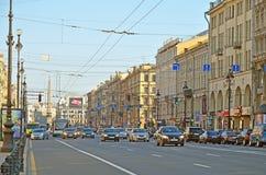 在圣徒Peterburg,俄罗斯的涅夫斯基远景 库存照片