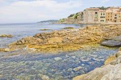 在圣徒Tropez,法国的南部的海滩 免版税库存照片