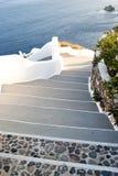 在圣托里尼海岛的台阶 库存照片